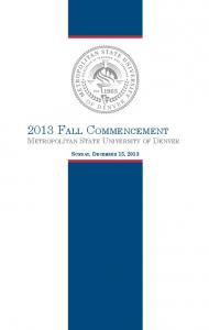 2013 fall commencement - MSU Denver