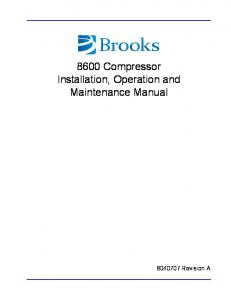 8600 Compressor Installation, Operation and Maintenance Manual