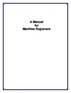 A Manual For Machine Engravers