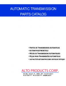 automatic transmission parts catalog - Alto Products Corp