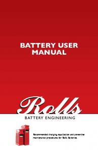 BATTERY USER MANUAL - Premium Deep Cycle Batteries | Rolls