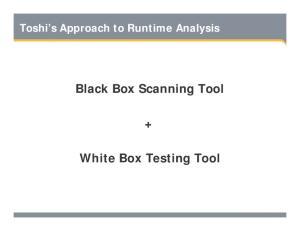 BLACK BOX SCANNING TOOL + WHITE BOX TESTING TOOL