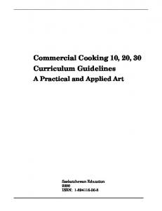 Commercial Cooking 10, 20, 30 Curriculum Guidelines