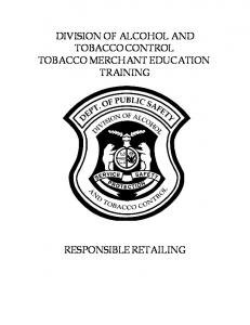 DIVISION OF ALCOHOL AND TOBACCO CONTROL TOBACCO MERCHANT EDUCATION