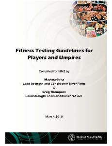 FITNESS TESTING GUIDELINES FOR PLAYERS AND UMPIRES