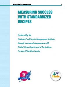 MEASURING SUCCESS WITH STANDARDIZED RECIPES
