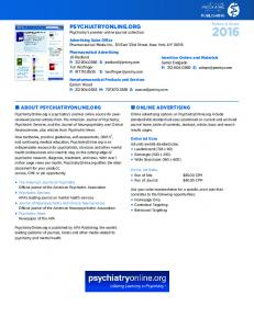 ONLINE ADVERTISING ON PSYCHIATRYONLINE.ORG