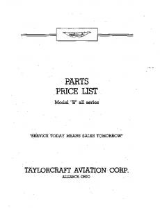 PARTS 'PRICE, ' LIST - Taylorcraft