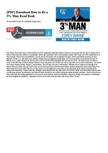 [PDF] Download How to Be a 3% Man Read Book
