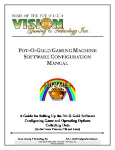 POT-O-GOLD GAMING MACHINE SOFTWARE CONFIGURATION MANUAL