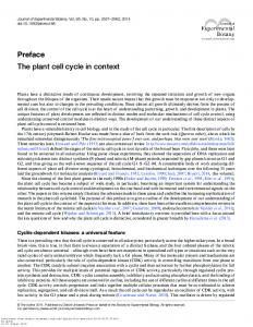 PREFACE THE PLANT CELL CYCLE IN CONTEXT
