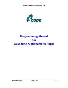 Programming Manual For GEO 40A7 Alphanumeric Pager