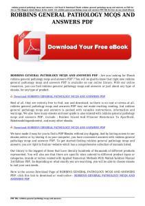 ROBBINS GENERAL PATHOLOGY MCQS AND ANSWERS PDF