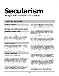 Secularism Profile 2004 - isionline.org