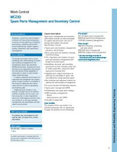 SPARE PARTS MANAGEMENT AND INVENTORY CONTROL