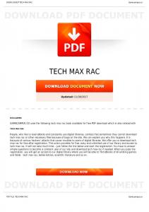 TECH MAX RAC - manuals - Gamecampus.co