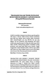 TRANSAKSI DALAM TEORI EXCHANGE BEHAVIORISM GEORGE
