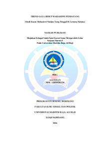 TREND GAYA HIDUP MAHASISWI PENDATANG