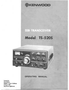 User Manual for the Kenwood TS-520S