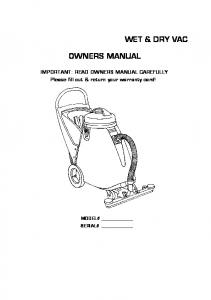 WET & DRY VAC OWNERS MANUAL - usviper.com