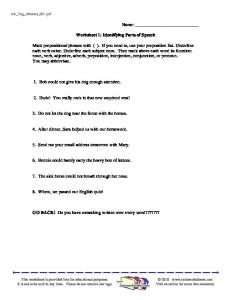 Worksheet 1: Identifying Parts of Speech